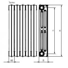 Радиатор чугунный Viadrus Termo 500/95 (размеры)
