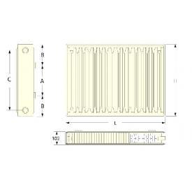 Радиатор стальной панельный RODA RSR тип 22 500х600 (размеры)