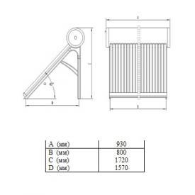 Термосифонный солнечный коллектор SolarX SXQG-100L-10 (Размеры)