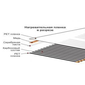 Теплый пол электрический пленочный Luchi-100 (1000x0,338 мм) 220Вт/м² (В разрезе)